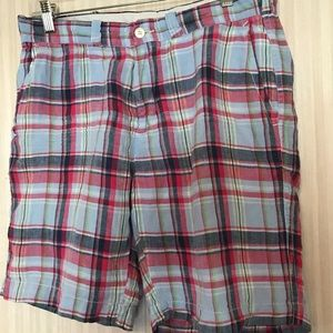 Polo Ralph Lauren Plaid Linen Shorts Slim Size 32